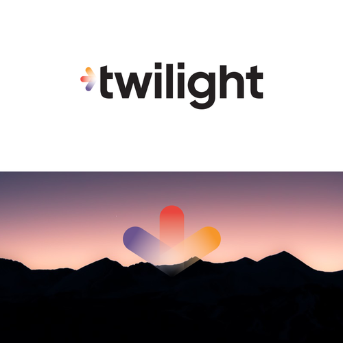 Red and blue design with the title 'Twilight Logo Design'