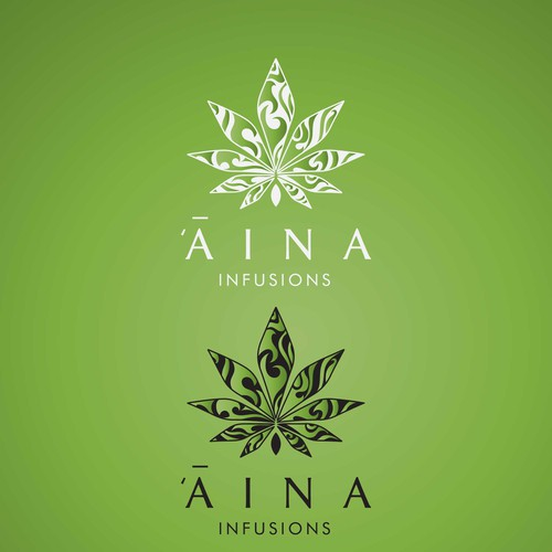 Hemp oil logo with the title 'ʻĀina Infusions'