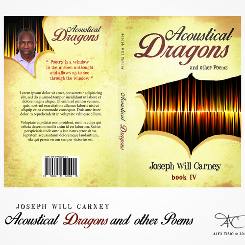 Poetry book cover with the title 'book cover design for Acoustical Dragons and other Poems'