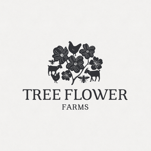 Goat design with the title 'Tree Flower Farms'