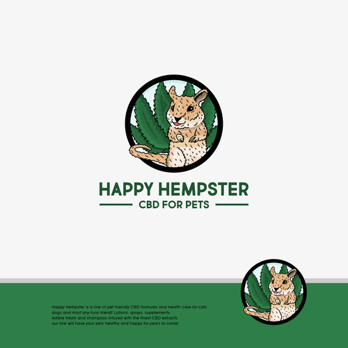 Hamster logo with the title 'Happy Hempster'
