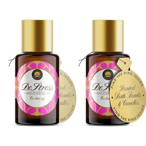 Oil packaging with the title 'Essential Oil Packaging Design'
