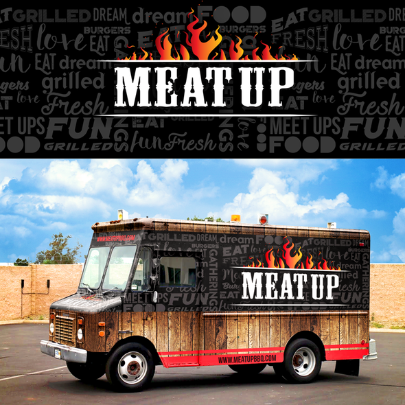 Food truck design with the title 'rebranding foodtruck wrap design'