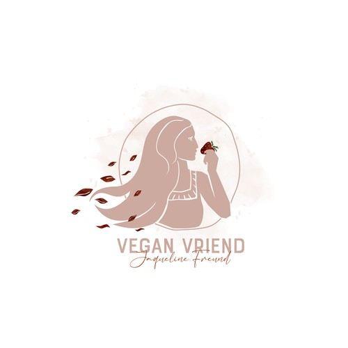 Strawberry design with the title 'Creative, hand drawn , watercolor logo for vegan nutritionist design '