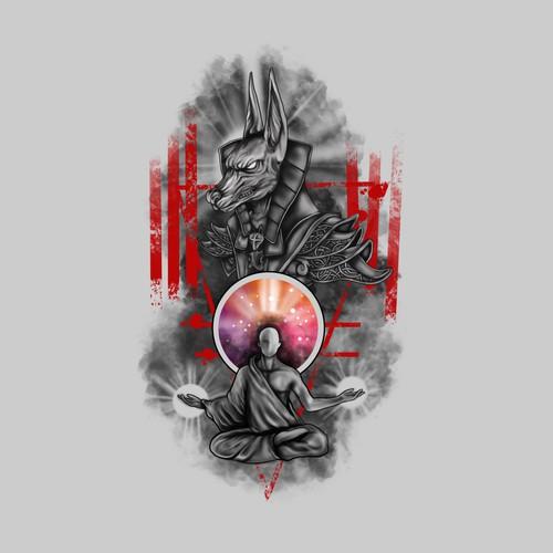 Anubis design with the title 'tattoo anubis and man meditation'
