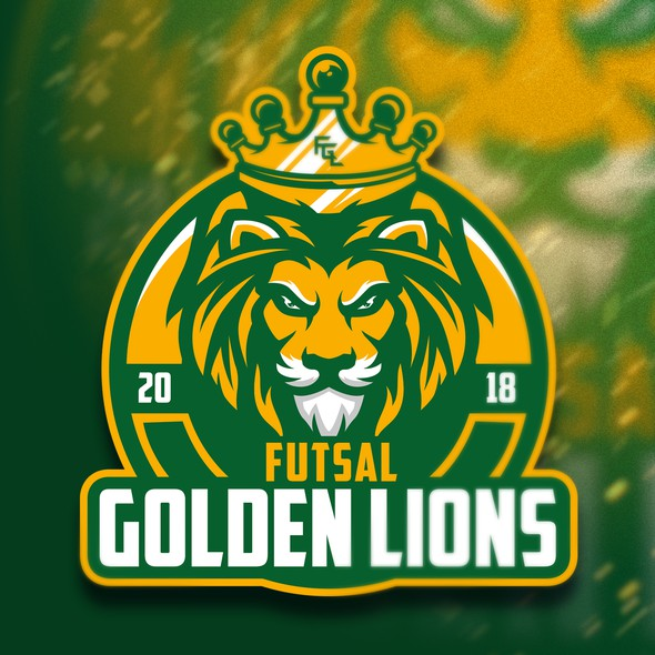 Green and yellow logo with the title 'Futsal Golden Lions 2018'