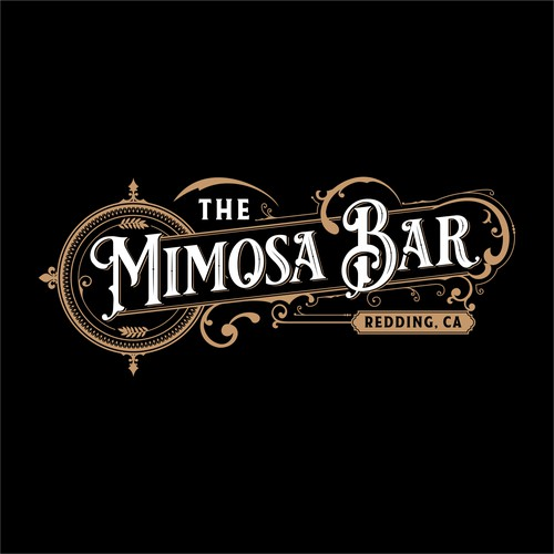 Bar and restaurant logo with the title 'The Mimosa Bar'