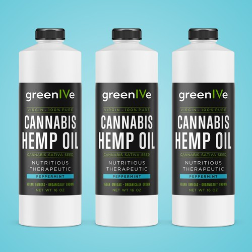 Oil design with the title 'Label design for Hemp Oil'