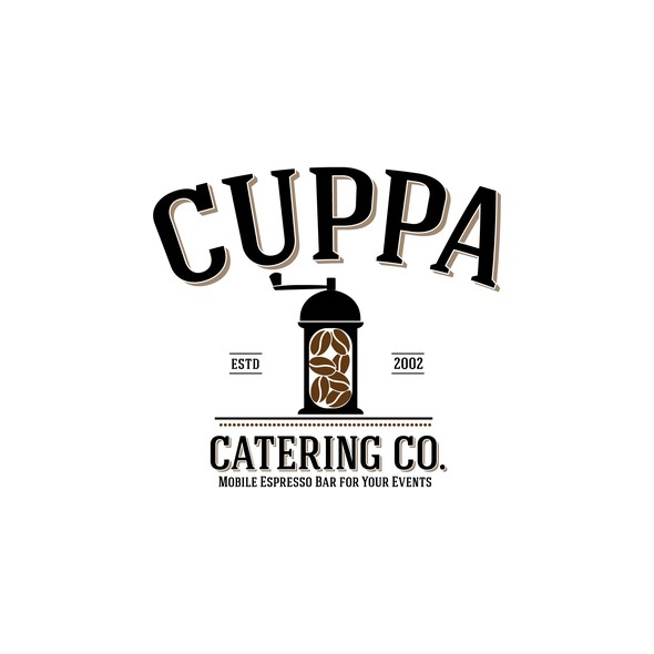 Black and brown logo with the title 'Cuppa'