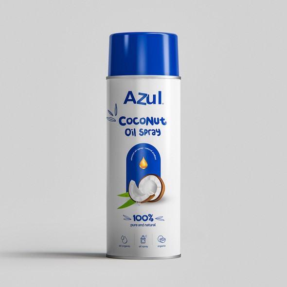 Spray bottle packaging with the title 'Azul Coconut'