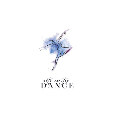 Dancer design with the title 'Aquarelle unique logo for City Center Dance'