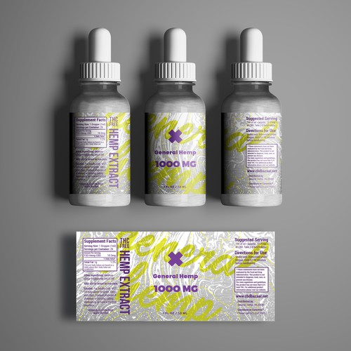Trippy design with the title 'CBD Oil Label Concept'