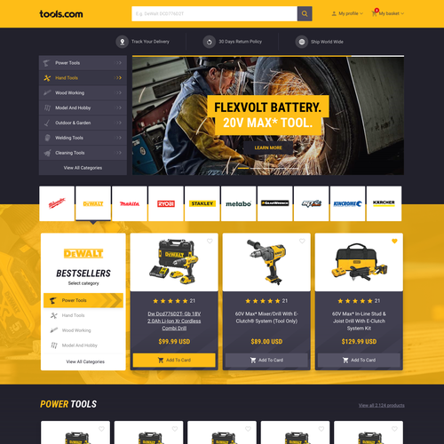 Yellow website with the title 'Tools.com online store'