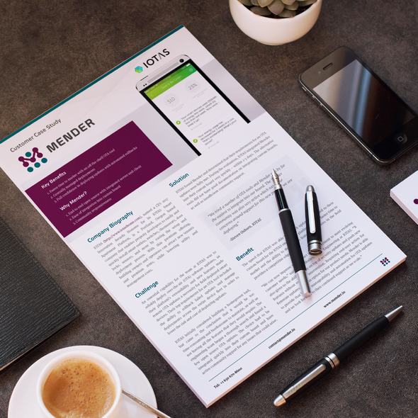 Single page design with the title 'Create a 1-2 page customer case study template'