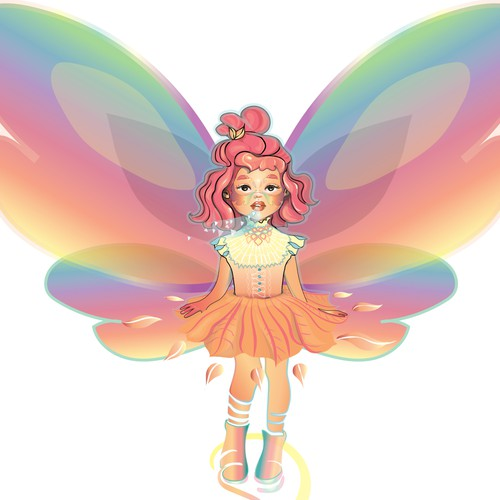 Rainbow illustration with the title 'GirlButterfly'