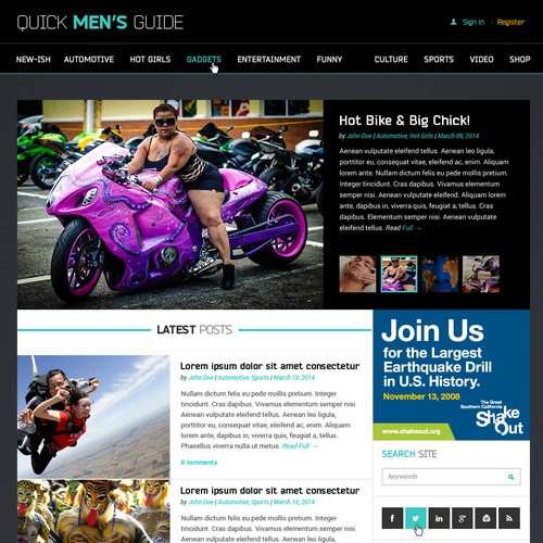 News website with the title 'Quick Men's Guide Website Design'