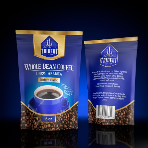 Retail packaging with the title 'Beautiful package for Whole Bean Coffee'