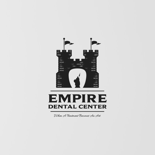 Medieval design with the title 'Empire Dental Center'