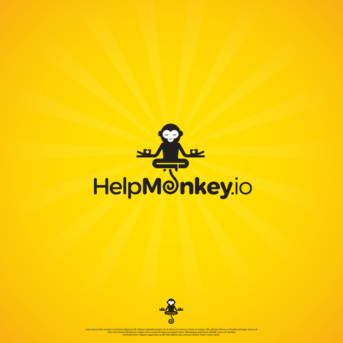 Monkey logo with the title 'Easy to remember and a bit fun logo for HelpMonkey.io'