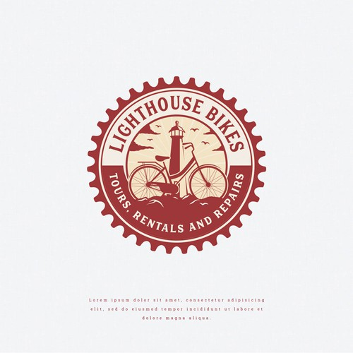 Lighthouse logo with the title 'Fun Logo for an Outdoor Adventure Shop'
