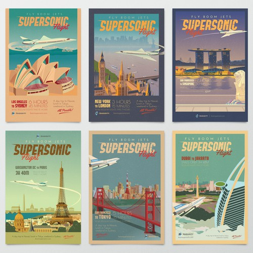 Old-fashioned design with the title 'Boom Jets Travel Poster'