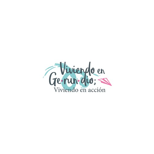 Blue and pink logo with the title 'Viviendo en Gerundio'