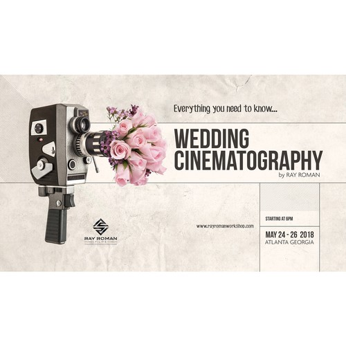 Texture design with the title 'Poster for Wedding Cinematography Workshop'