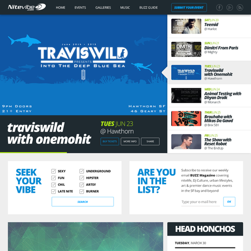 Nightlife design with the title 'Design for a Night Guide Website'
