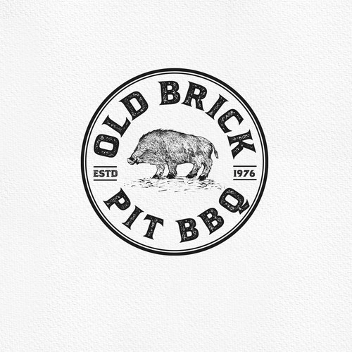 Smokehouse design with the title 'Logo Concept for Old Brick Pit BBQ'