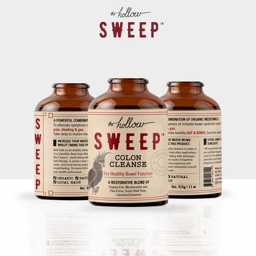 Medical design with the title 'Hollow SWEEP colon cleanse'