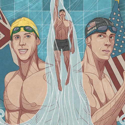 Portrait artwork with the title 'Illustration of Michael Phelps and Grant Hackett'
