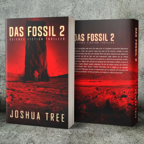 Science-fiction book cover with the title 'Das Fossil, by Joshua Tree'