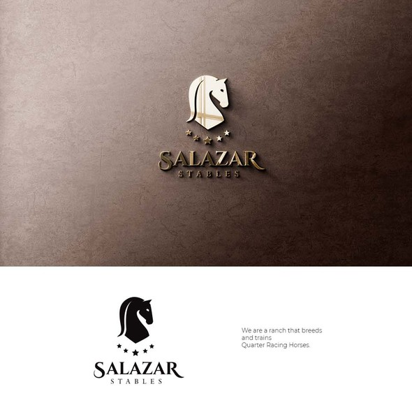 Horse logo with the title 'Logo design for Salazar Stables'