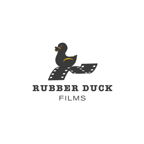 Yellow and gray design with the title 'Logo concept for Rubber Duck Films'
