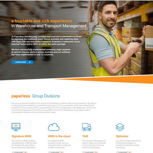 Logistics design with the title 'Web page design for Paperless'