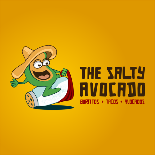 Fast food logo with the title 'the salty avcocado!'
