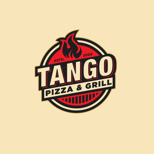 Pizza logo with the title 'Tango Pizza Logo'