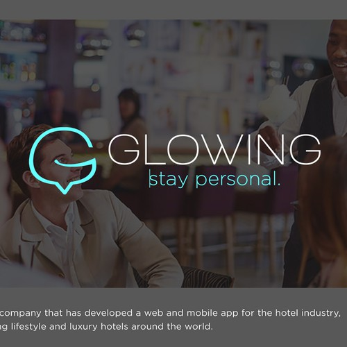 Hospitality design with the title 'Logo Design and Business Cards for Glowing'