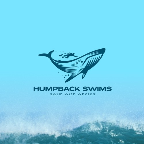 Whale design with the title 'Logo Design for Humpback Swims'