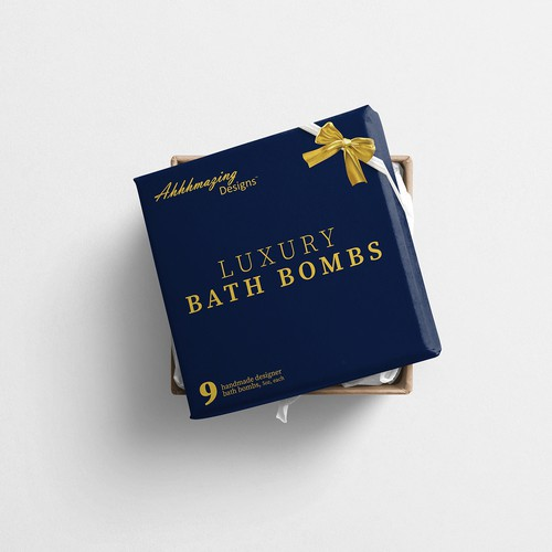 Bath bomb packaging with the title 'luxury gift box'