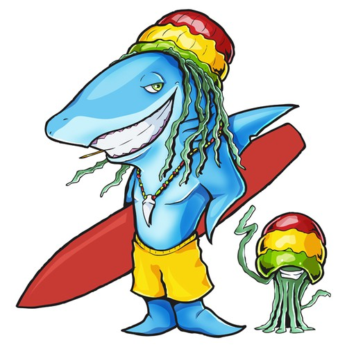 Jellyfish design with the title 'Surfing Shark'