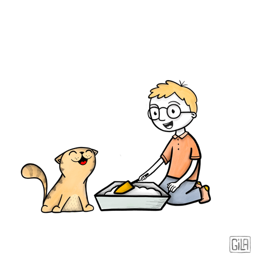 Procreate design with the title 'Cat litter illustration'
