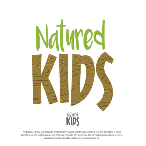 Wood texture design with the title 'NATURED KIDS LOGO PROPOSAL'