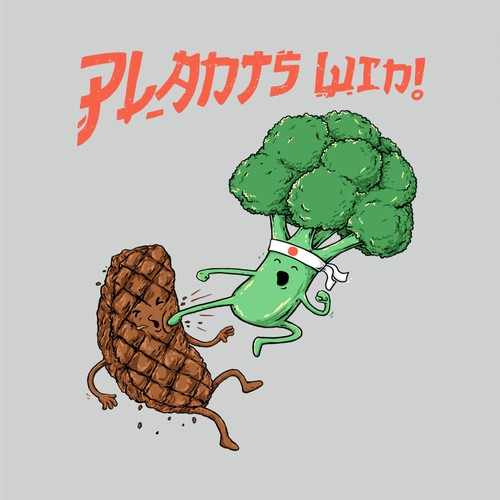 Health t-shirt with the title 'Plants Win!'