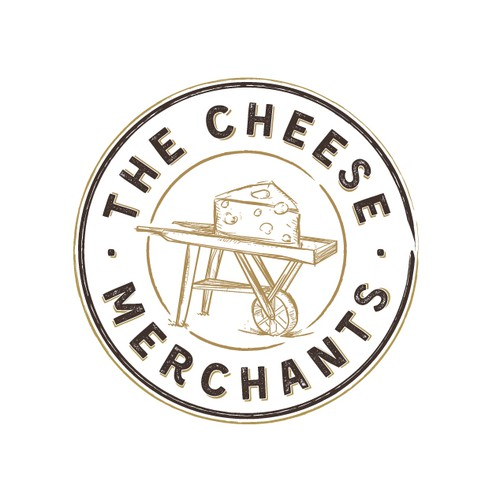Round stamp logo with the title 'Bold logo for The Cheese Merchants'