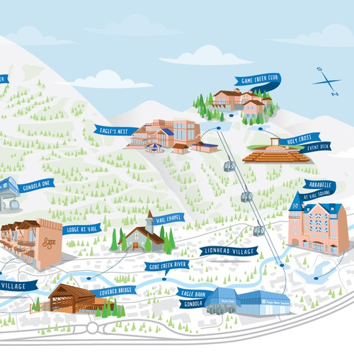 Map artwork with the title 'Vail Map'
