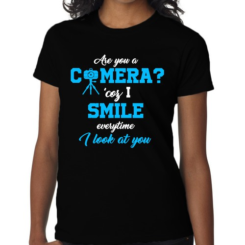 Photography t-shirt with the title 'Are you a camera pick-up line shirt'