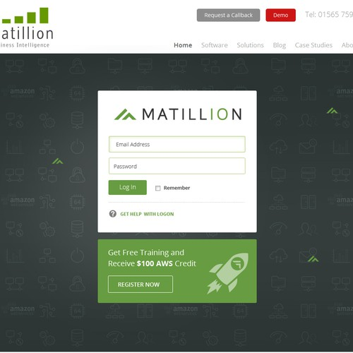 Login design with the title 'Login page for Matillion ETL for Redshift.'