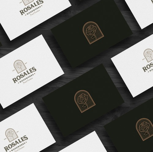 Carving logo with the title 'Rosales woodworks'