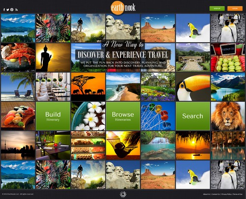 Tile design with the title 'Landing Page for Earth Nook, Discover & Experience Travel'